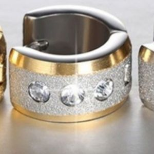 Jewelry - Two-Tone Stainless Steel Crystal Hoops